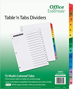 "Office Essentials Table 'n Tabs Dividers, 8-1/2"" x 11"", 1-15 Tab, Multicolor Tab, Laser/Inkjet, 6 Pack (24842)"