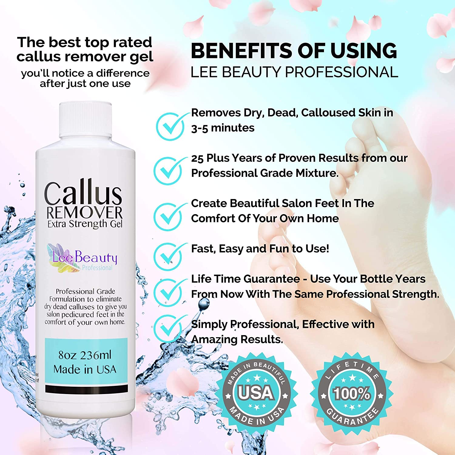 8oz Callus Remover gel for feet for a professional pedicure. Better results than, foot file, pumice stone, foot scrubber, foot buckets & callus shaver. Rid ugly callouses from feet in minutes!: Beauty