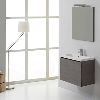 MOBILE BAGNO 60 CM CON DUE ANTE MANHATTAN GRIGIO SOSPESO: Amazon.it ...