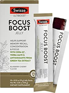 Swisse Ultiboost Focus Boost Jelly Sticks, Blueberry Cherry   Supports Brain Function, Memory Recall, & Concentration   Cera-Q, Yerba Mate, & Green Tea Antioxidants   Portable Jelly Sticks   10 Count