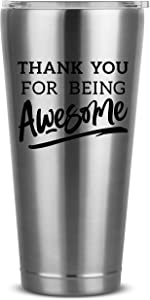 Thank You For Being Awesome - 30 oz Silver Insulated Stainless Steel Tumbler w/Lid - Birthday Present Ideas for Women Men Wife Husband Son Daughter Friend - Presents Bday Idea Mug