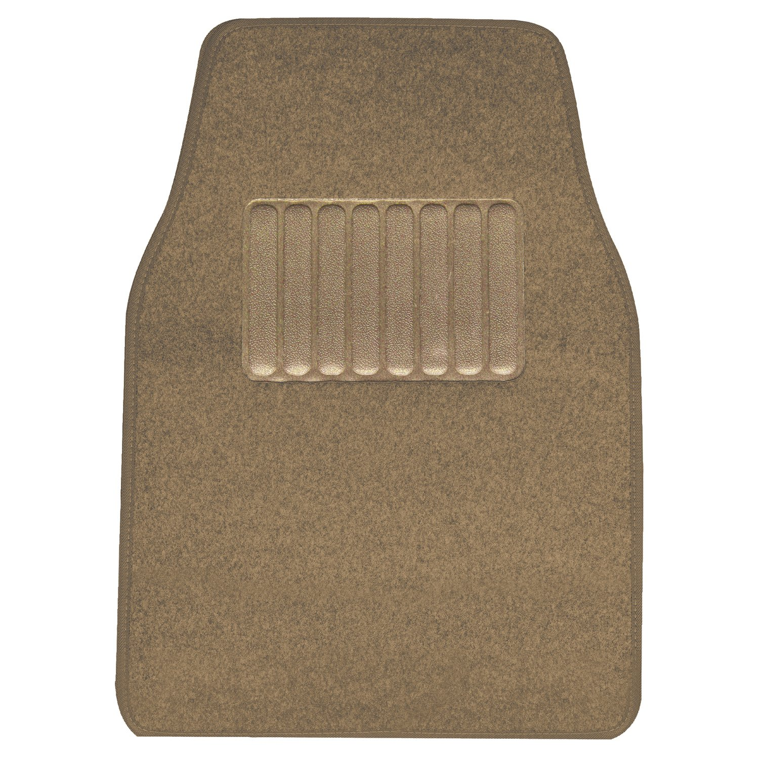 4 Piece Pilot Automotive FM-02T Tan Carpet Floor Mat with Rubber Heel Pad,
