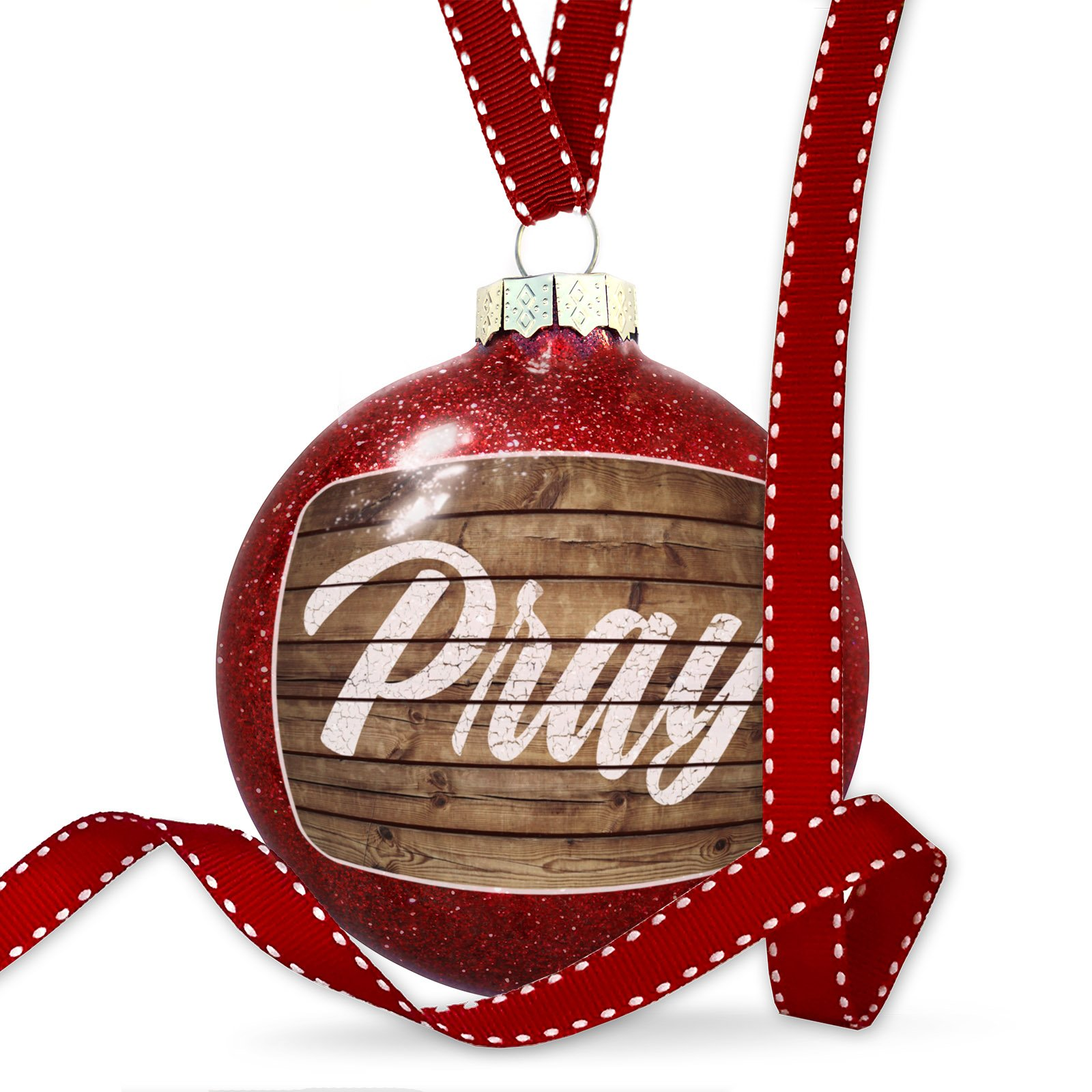 Christmas Decoration Painted Wood Pray, Hustle, Repeat Ornament
