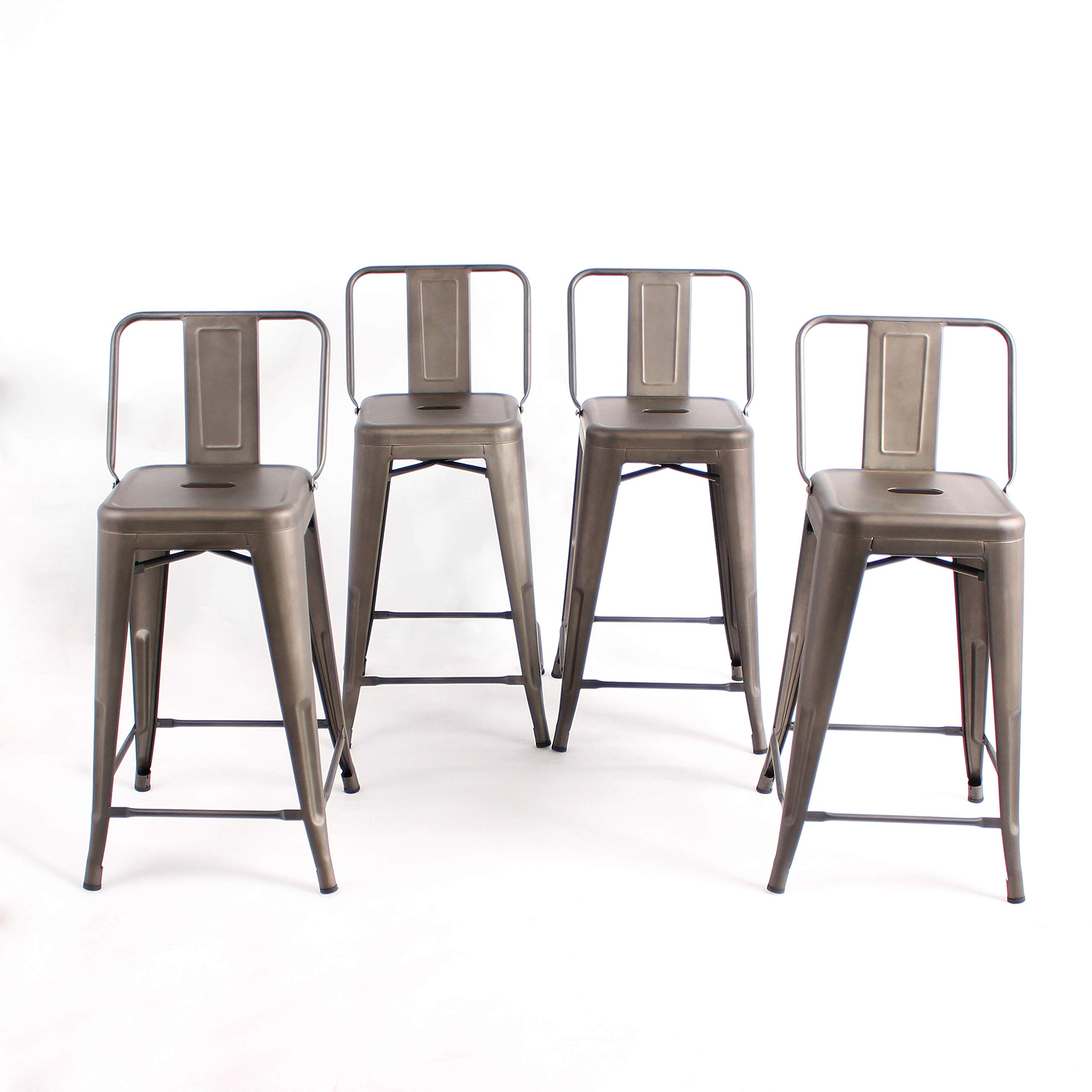 Buschman Set of 4 Bronze 24 Inch Counter Height Metal Bar Stools with Medium Back Indoor Outdoor by Buschman Store