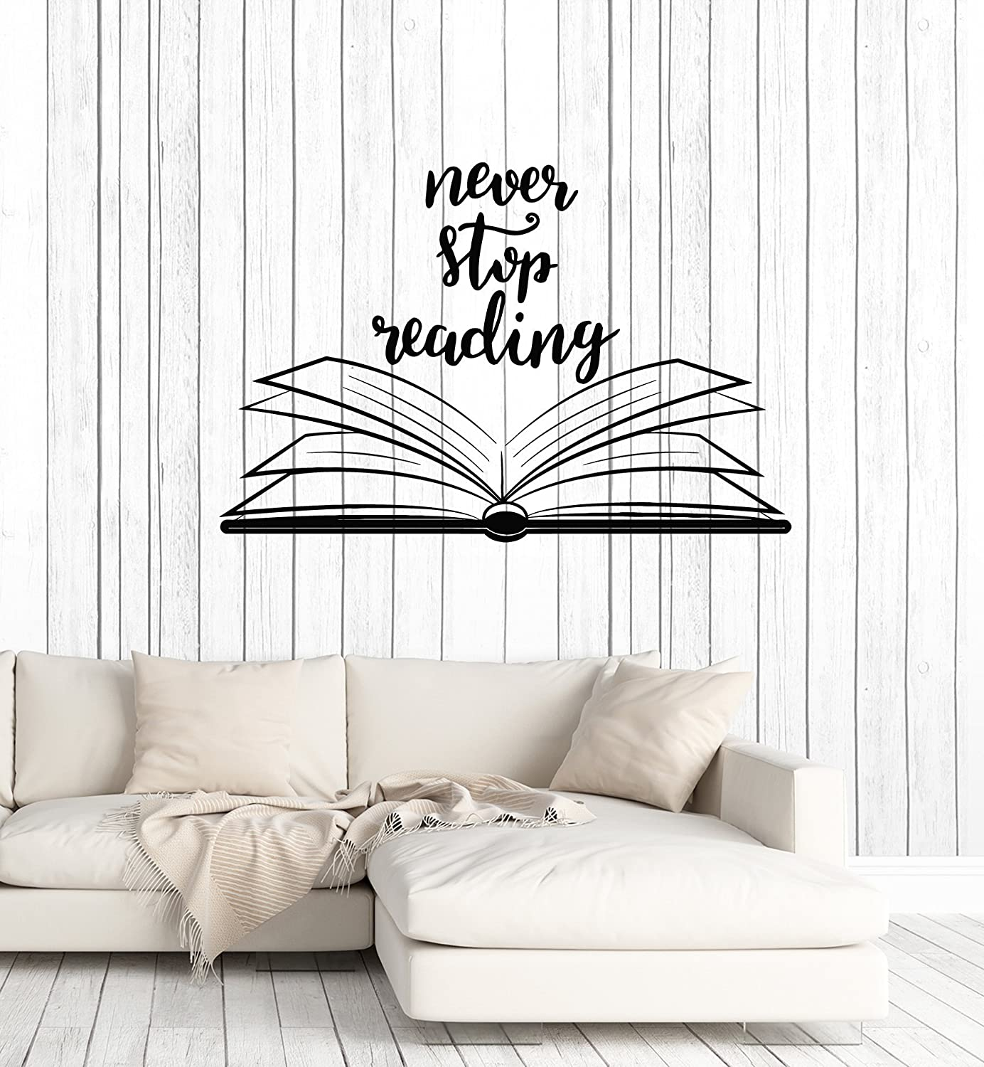 Amazon com large vinyl wall decal open book quote reading room library decor stickers mural ig5184 black home kitchen