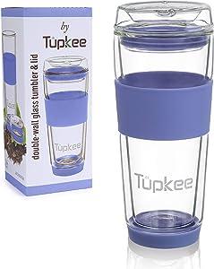 Tupkee Double Wall Glass Tumbler - 14-Ounce, All Glass Reusable Insulated Tea/Coffee Mug & Lid, Hand Blown Glass Travel Mug - Jacaranda