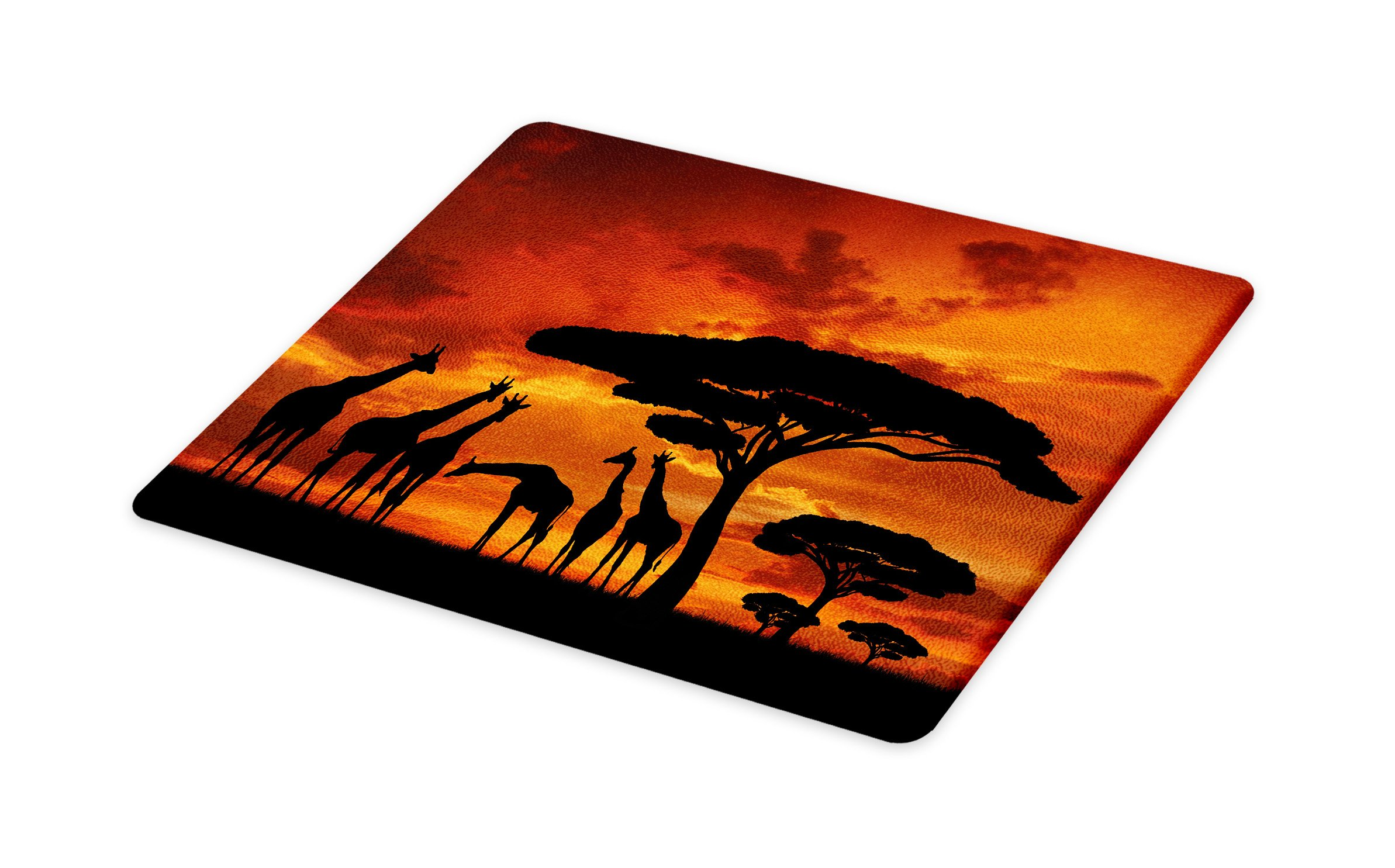 Lunarable Africa Cutting Board, Safari Animal with Giraffe Crew with Majestic Tree at Sunrise in Kenya, Decorative Tempered Glass Cutting and Serving Board, Large Size, Burnt Orange and Black