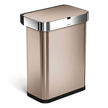 simplehuman 58 Liter / 15.3 Gallon Stainless Steel Touch-Free Rectangular Kitchen Sensor Trash Can with Voice and Motion Sensor, Voice Activated, Rose Gold Stainless Steel