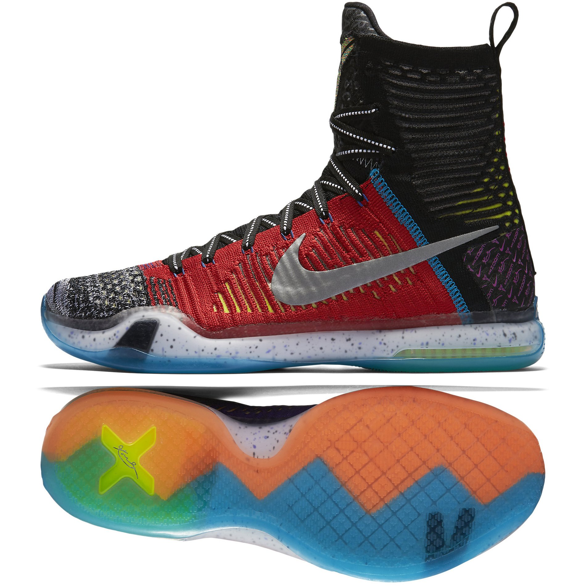 fbf4665415a7 Galleon - Nike Kobe X Elite SE Knit Stocking 815810-900 Multi-Color/Silver  Flyknit Men's Shoes (Size 10.5)