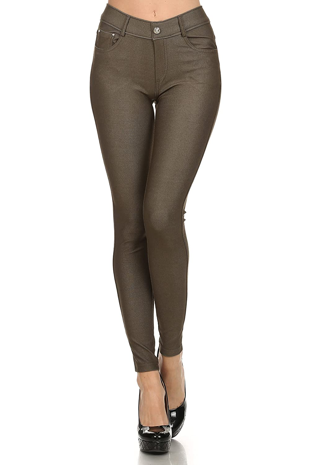 bba50561662ed ICONOFLASH Women's Stretch Jeggings - Slimming Cotton Pull On Jean Like  Leggings with Plus Size Options at Amazon Women's Clothing store: