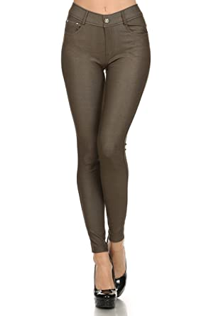 4fa38d41688 ICONOFLASH Women s Jeggings - Pull On Slimming Cotton Jean Like Leggings  (Army Green