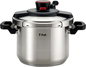 T-fal P45007 Clipso Stainless Steel Dishwasher Safe PTFE PFOA and Cadmium Free 12-PSI Pressure Cooker Cookware, 6.3-Quart, Silver