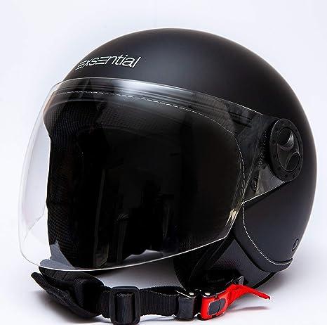 Exsential EX 730 VL Casque demi-jet noir mat pour scooter et moto taille M
