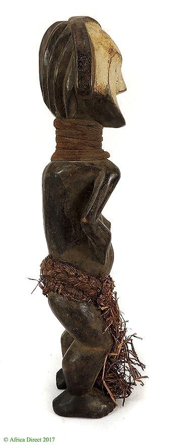 ambete figura en miniatura con rafia falda Gabón arte africano ...