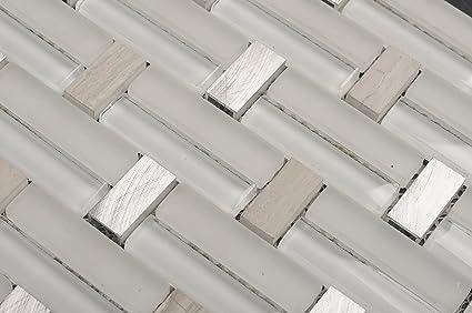 Piastrelle di vetro mosaico cm grigio beige cucina bagno