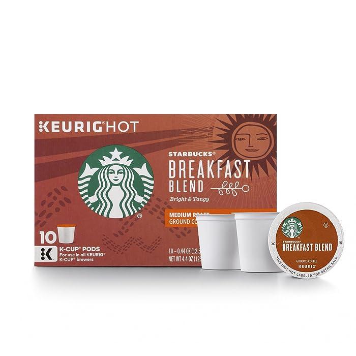 Starbucks Breakfast Blend Medium Roast Single Cup Coffee for Keurig Brewers, 6 Boxes of 10 (60 Total K-Cup pods)