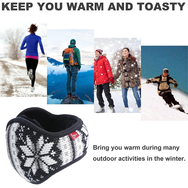 Mraw-Adjustable Winter Earmuff Back Worn Ear Warmer-Snowflake Pattern-Foldable