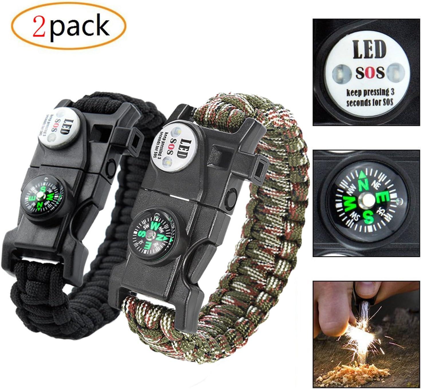 2 Pack] 20 en 1 Paracord supervivencia pulsera, máxima carga 250 kg, con Multi Tool, fuego Acero, SOS LED Light, brújula, silbato, Mini Cuchillo, termómetro: Amazon.es: Deportes y aire libre