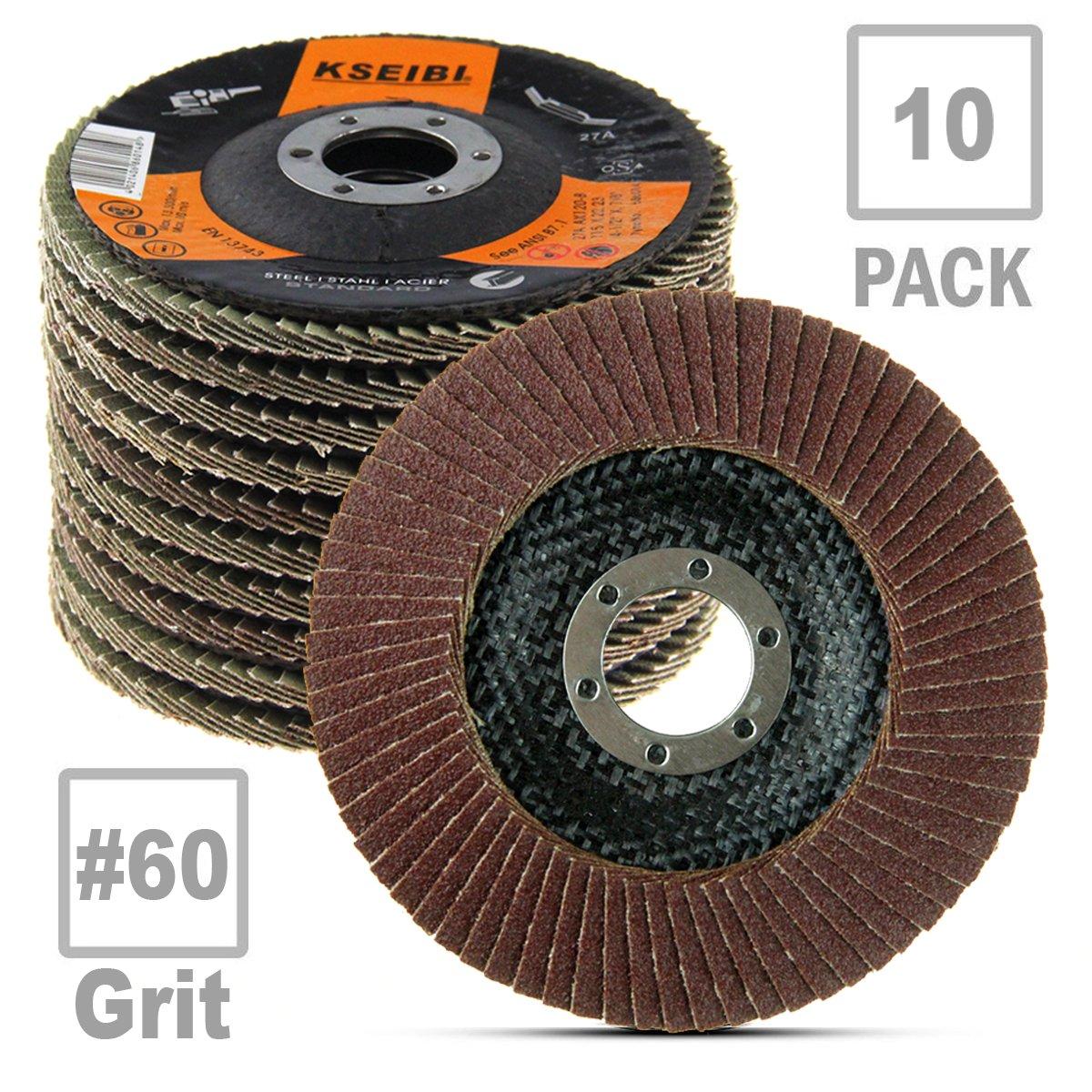 KSEIBI Aluminum Oxide 4 1/2 Inch Auto Body Flap Disc Sanding Grinding Wheel 10 Pack (60 Grit)