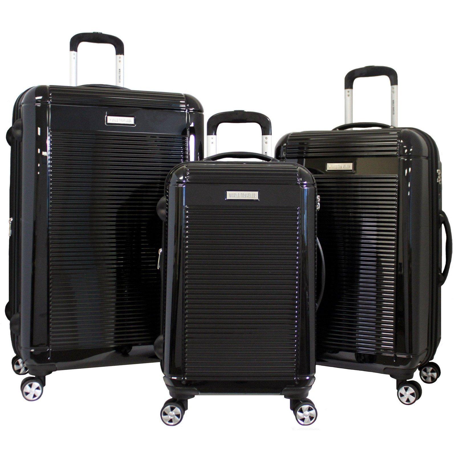 World Traveler Regal 3-Piece Hardside Lightweight Spinner Luggage Set, Black