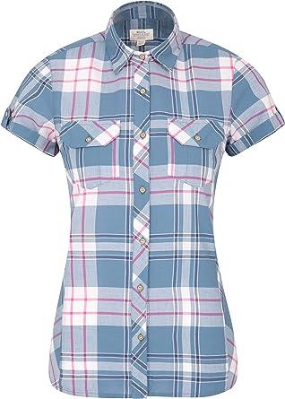 Mountain Warehouse Camisa de algodón Holiday para Mujer - Top de Manga Corta para Mujer, Camisa Informal, Camisa Ligera de Verano para Mujer - para Viajar, Caminar: Amazon.es: Ropa y accesorios