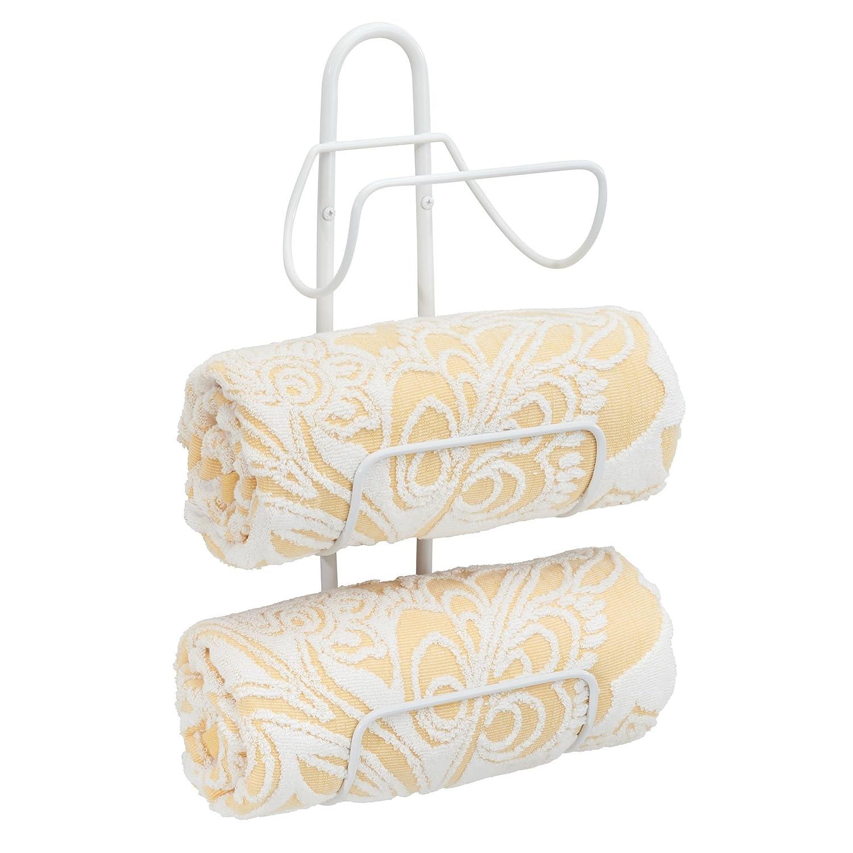 mDesign Porta asciugamani da appendere – Spazioso portasalviette bagno in metallo con 3 ripiani – Appendi asciugamani ideale per bagni di ogni dimensione – bianco MetroDecor