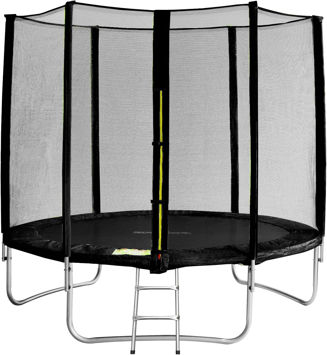 SixBros. SixJump 2,45 M Trampolín Cama elástica de jardín Negro - Escalera - Red de Seguridad - Lluvia Cobertura - TS245/1929