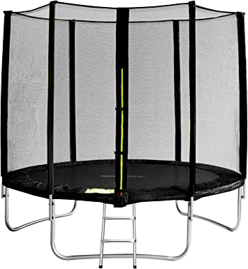 SixBros. SixJump 2,45 M Trampolín Cama elástica de jardín Negro - Escalera - Red de Seguridad - Lluvia Cobertura - TS245/1929: Amazon.es: Deportes y aire libre