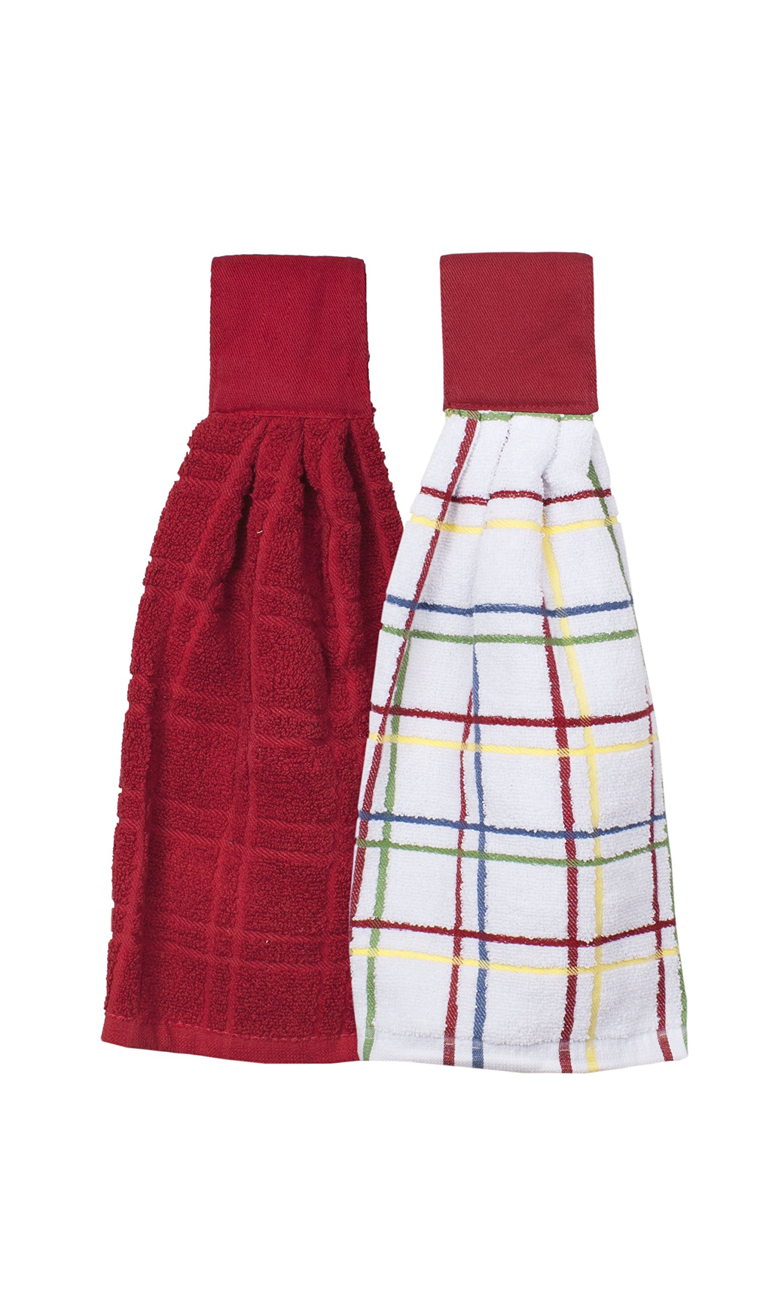 Ritz Kitchen Wears 100% Cotton Hanging Tie Towels, 2 Pack Checked And Solid, Paprika Red, 2 Piece