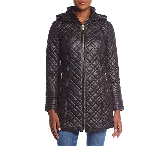 26b493e8108 Via Spiga Women's Mini Quilted Hooded Black Small at Amazon Women's Coats  Shop