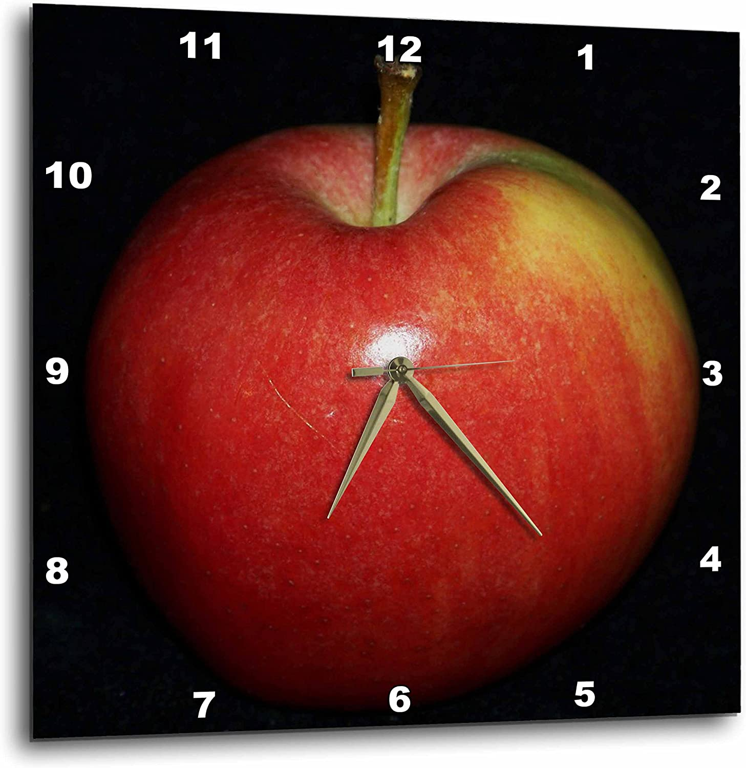 3dRose DPP_21643_2 Red & Yellow Apple Black Background Wall Clock, 13 by 13