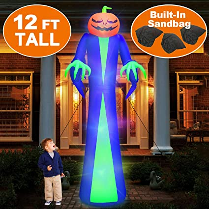 12ft Giant Halloween Inflatables Pumpkin Halloween Blow Up Decorations Inflatables With Led Light Sandbags Stakes Strings Halloween Inflatables