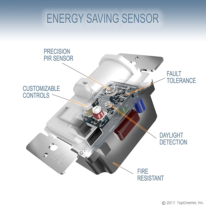 override light sensor wiring diagram topgreener in wall pir motion sensor light switch  occupancy  pir motion sensor light switch