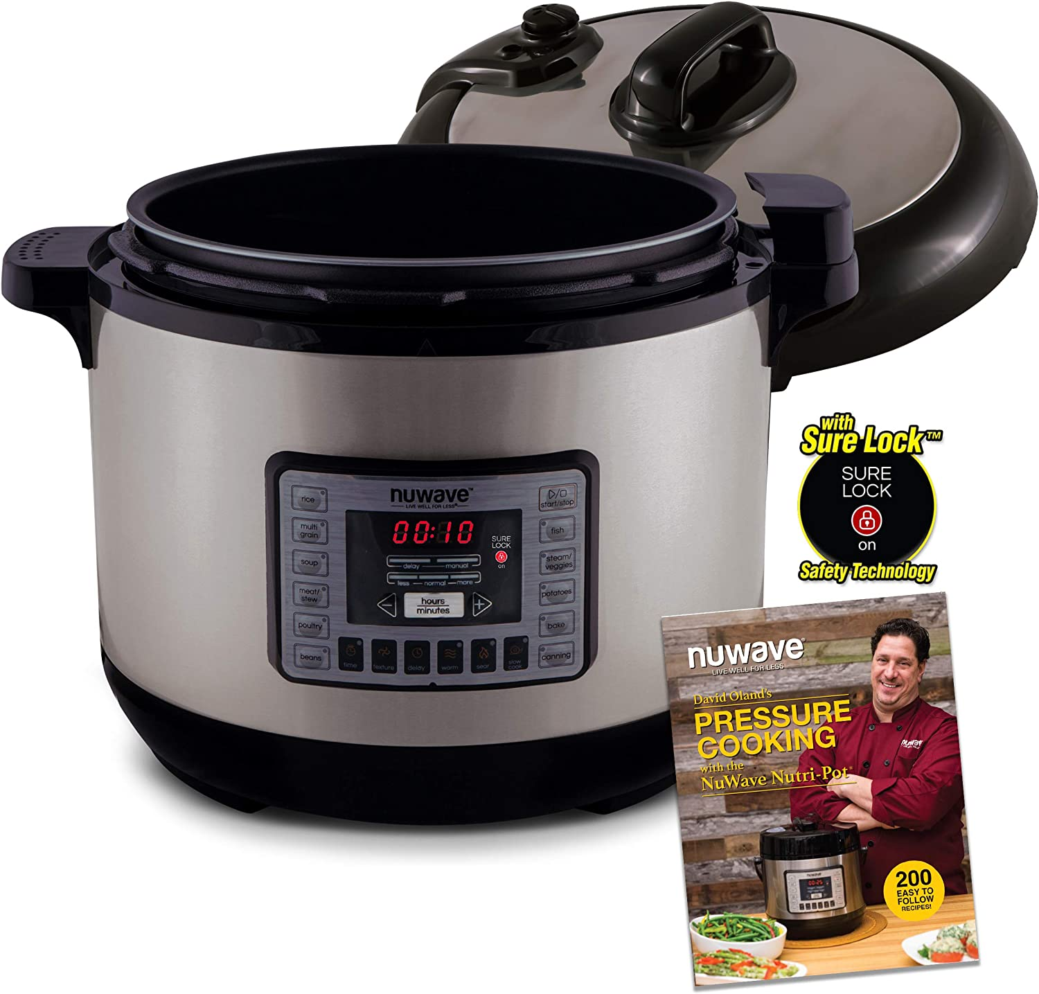 NUWAVE NUTRI-POT 13-Quart DIGITAL PRESSURE COOKER with Sure-Lock Safety System; Dishwasher-Safe Non-Stick Inner Pot; Glass Lid for Slow Cooking; Cooking Rack, 11 Pre-Programmed Presets; Detachable Pressure Pot Lid for Easy Cleaning; and Chef Tested 200 Recipe Pressure Cooking Cookbook. (13-Quart)
