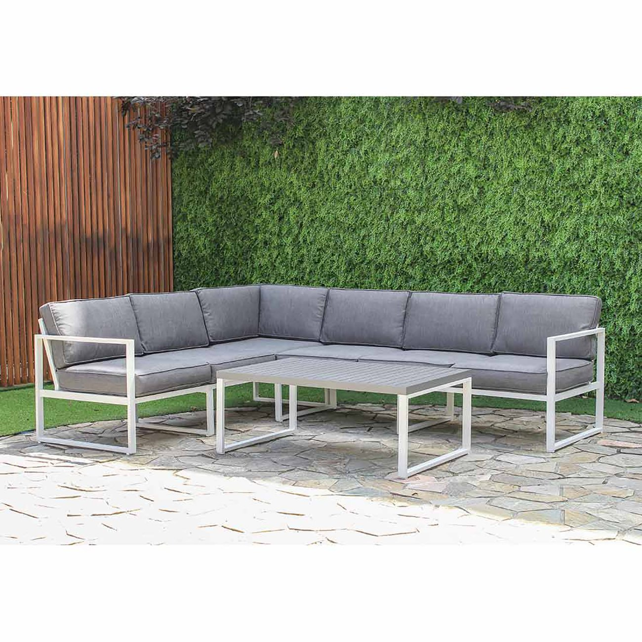 gartenlounge outliv indianapolis loungeecke 3 teilig aluminium polsterung sitzbank garten g nstig. Black Bedroom Furniture Sets. Home Design Ideas
