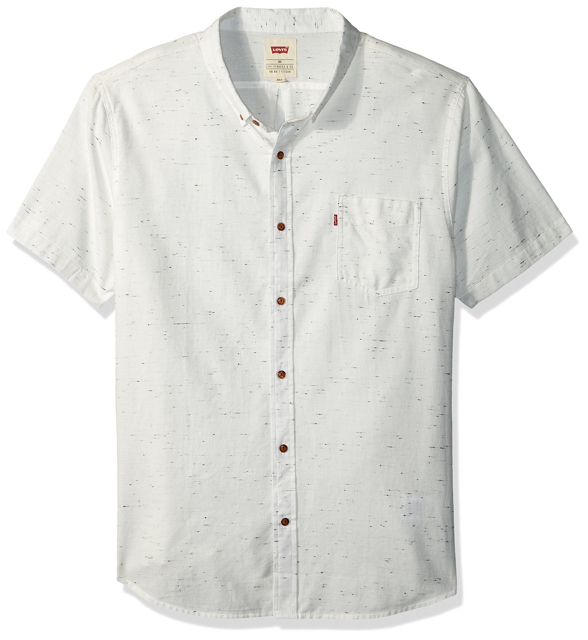 Levi's Men's Seoul Short Sleeve Woven Shirt, Marshmallow, X Large