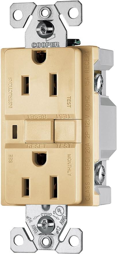 EATON Wiring VGF20B 20-Amp 2-Pole 3-Wire 125-Volt Duplex Ground Fault Circuit Interrupter Brown