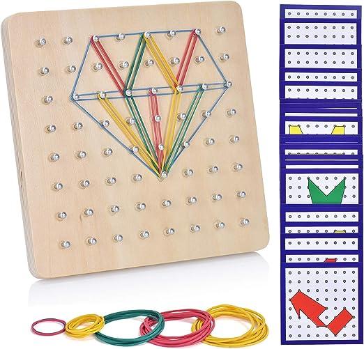 Ulikey Geoboard de Madera, Montessori Juguete Creativo Gráficos de ...