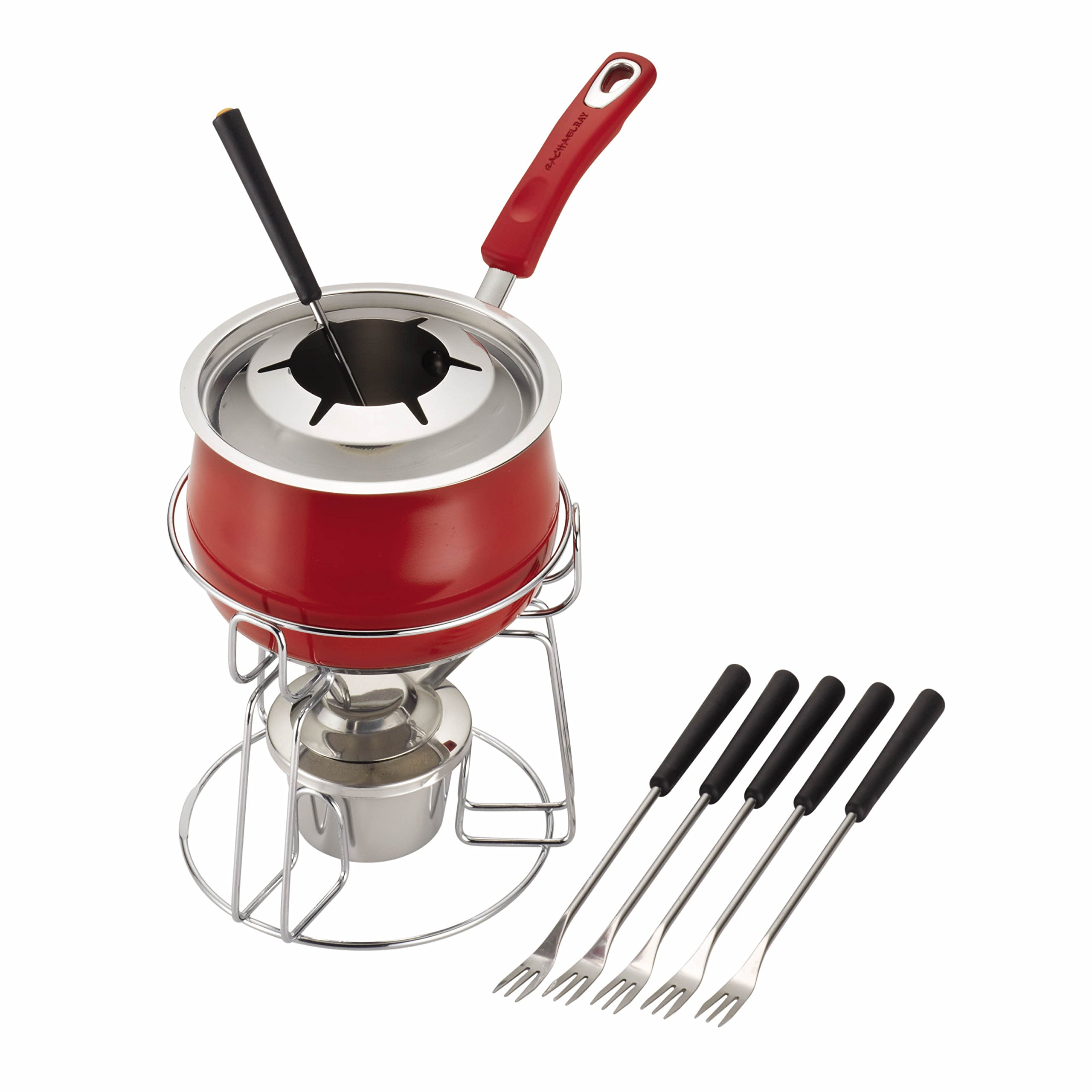 Rachael Ray Stainless Steel II 2-Quart Fondue Set, Red