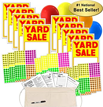 Yard Sale Sign Kit With Pricing Stickers And Change Apron A504Y By Garage