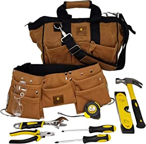 SparkJump Kids Deluxe Tool Set with Real Hand Tools, Durable Canvas Tool Bag, Real Leather Tool Belt, DIY Woodworking Tools for Children