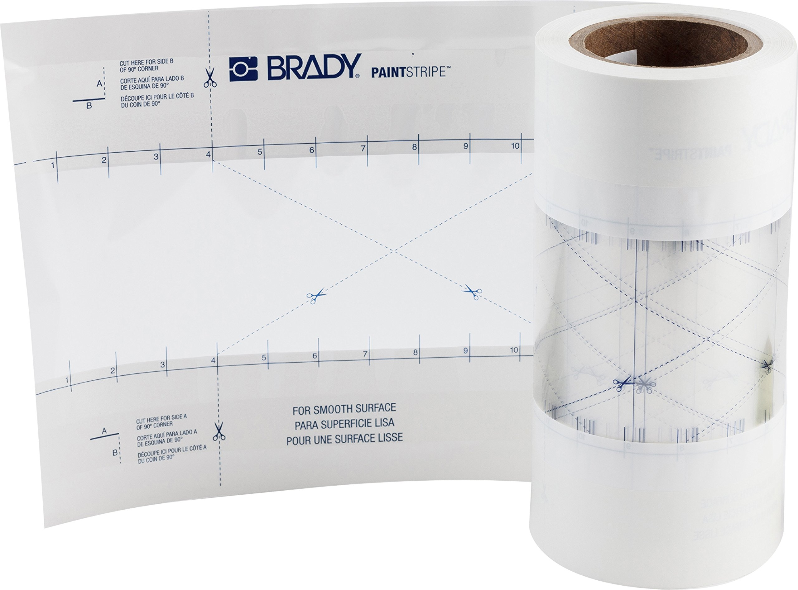 Brady PaintStripe Floor Marking Stencil, Continuous Line, 0.25'' Height, 4'' Wide, 1200'' Length, Polypropylene, Clear/White - 148806