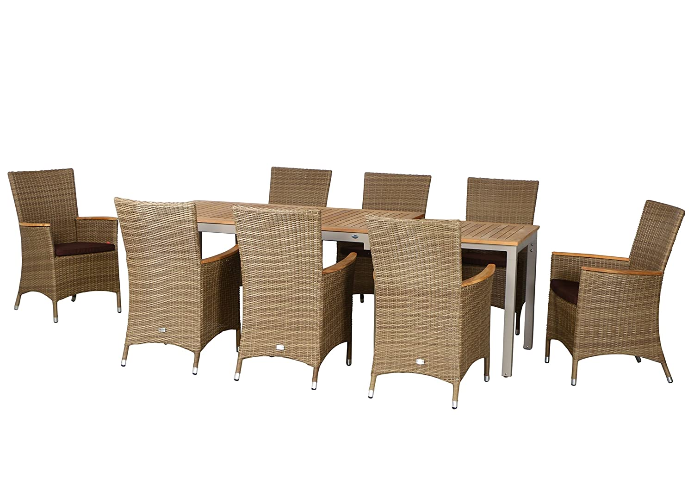 17-teilige Luxus Aluminium Teak Polyrattan Geflecht Gartenmöbelgruppe Austin , 8 Diningsessel, 8 Auflage und ein Ausziehtisch Tifosi 160/280x90, champagner - sand