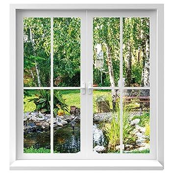 Premiumdesign Wandtattoo Fenster Ausblick In Garten In Originalgrosse
