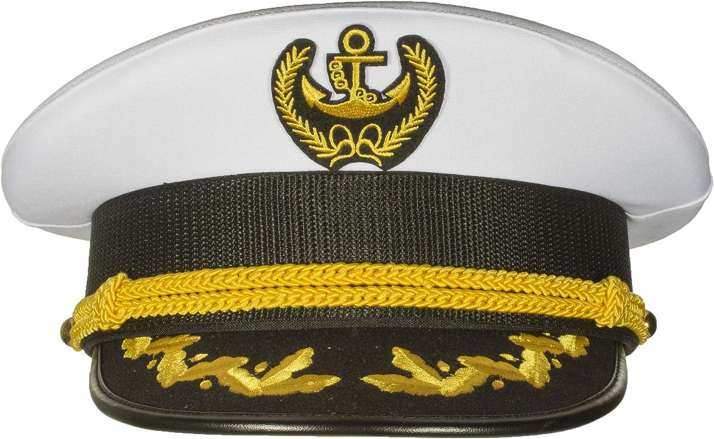 Deluxe Men's Captain Skipper Yacht Hat, Sizes 57-60 cm, Commercial Quality