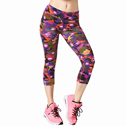 5d582c197d7a0 Zumba Wide Waistband Dance Fitness Compression Fit Print Capri Workout  Leggings for Women, Purple Power