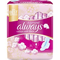 Always Diamond Maxi Thick, Large sanitary pads with wings, 24 pads