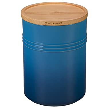 Le Creuset Stoneware 4  Canister with Wood Lid, 22 oz, Marseille