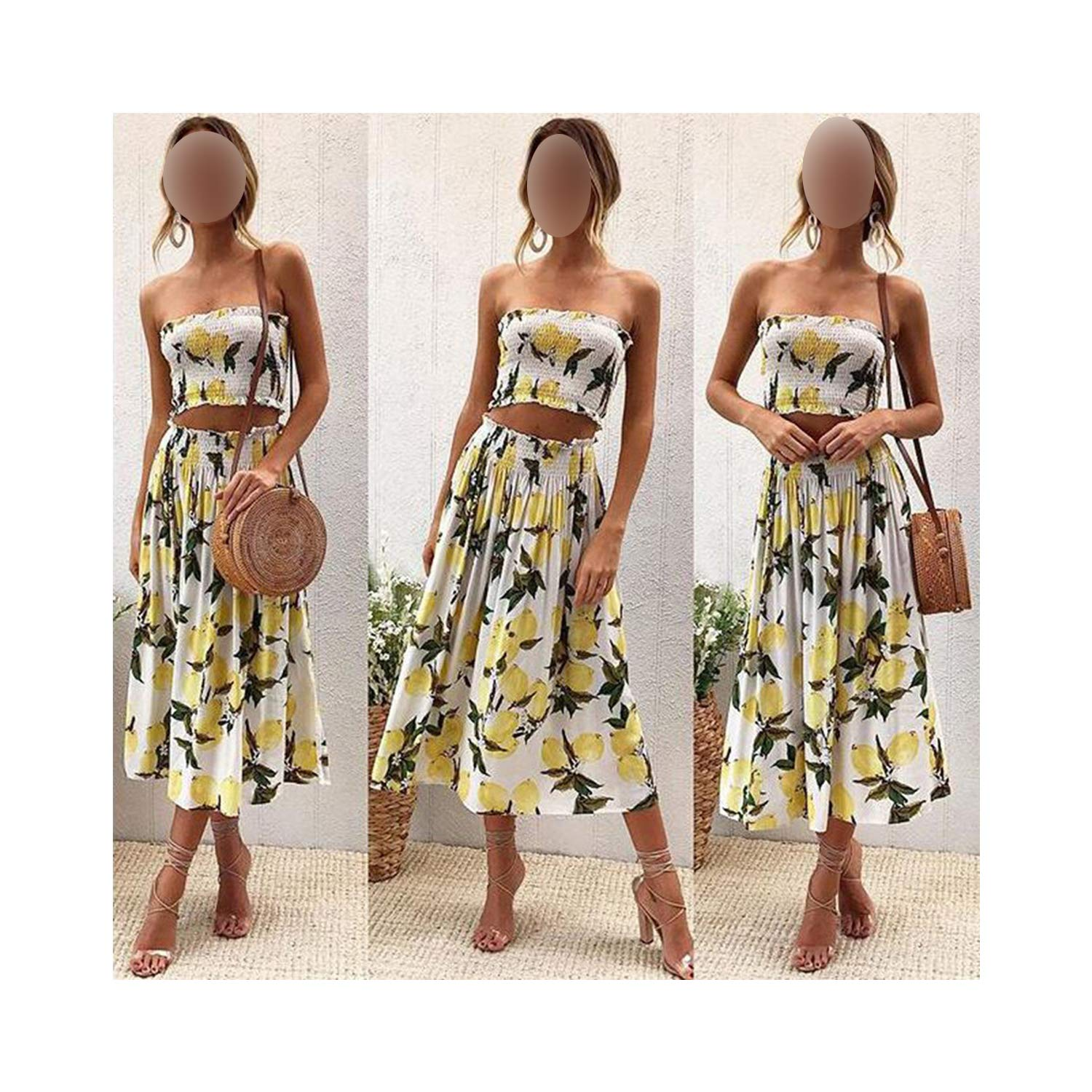 Womens Summer Explosions Hot Printed Lemon Suower Wrapped Che Back Trend Skirt Two-Piece Suit