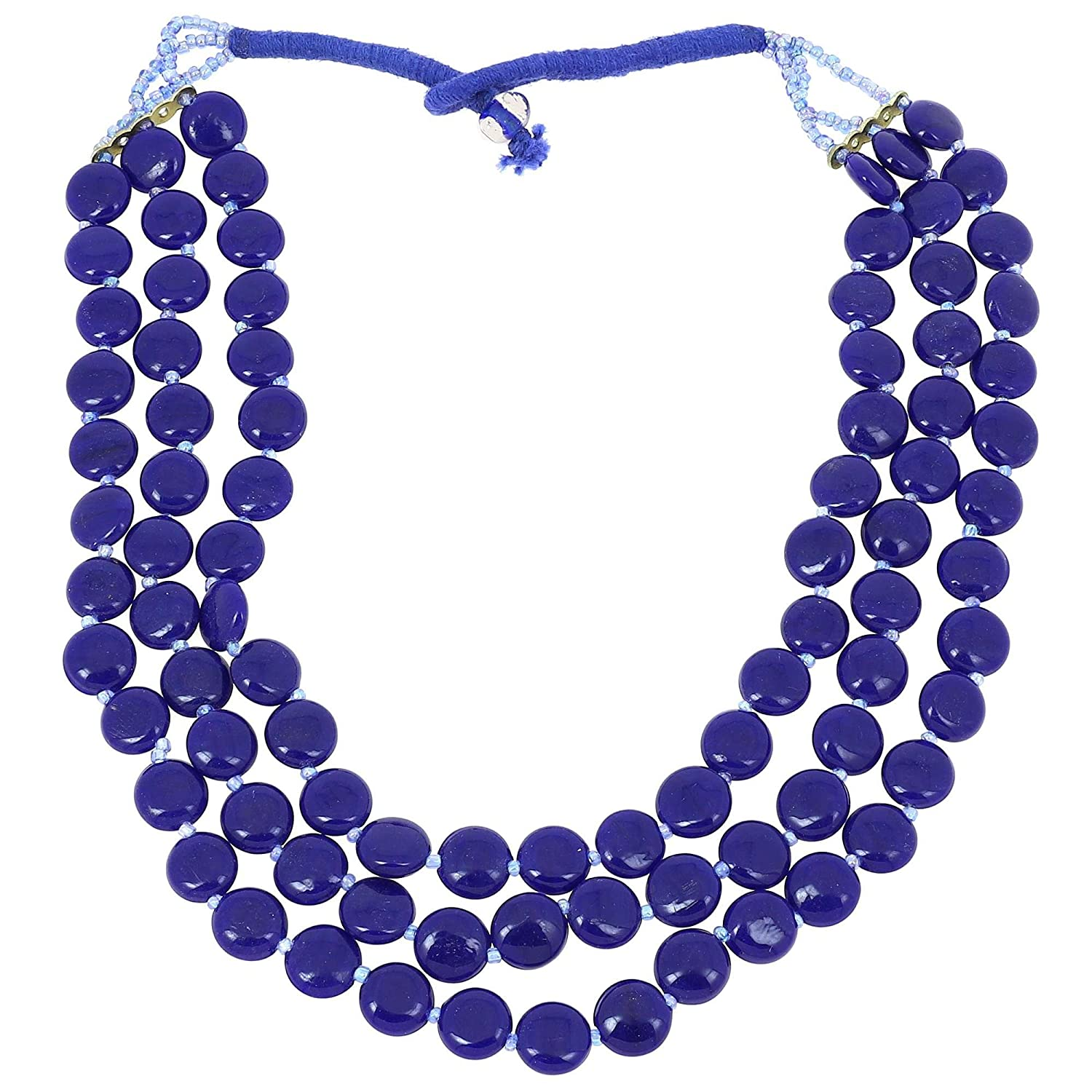 square retro bead necklace p style black asp blue and
